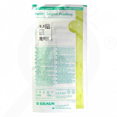 eu b braun gloves vasco surgical powdered 6 5 2 p - 1