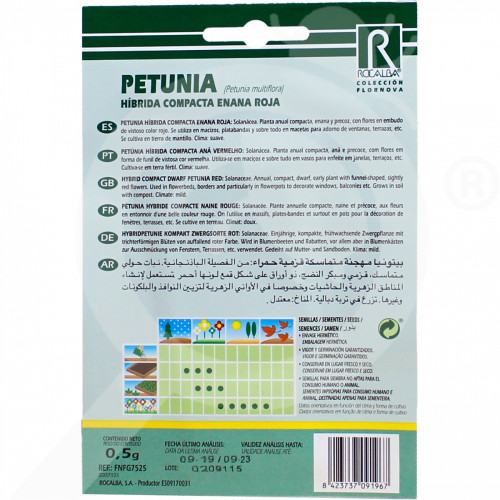 eu rocalba seed petunia hibrida compacta enana roja 0 5 g - 0