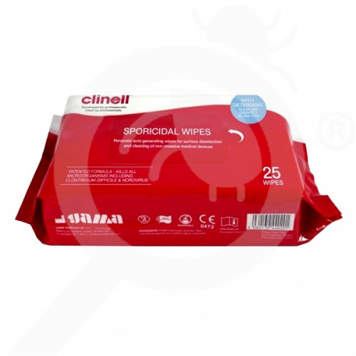 fr gama healthcare disinfectant clinell sporicid wipes 25 p - 1, small