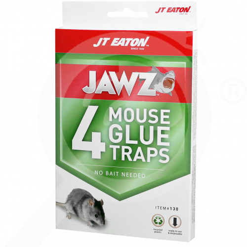 hu jt eaton adhesive plate jawz mouse glue trap 4 p - 0, small
