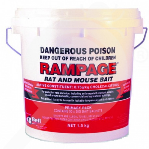 au bell labs rodenticide rampage rat mouse bait 50x30g packs - 1, small