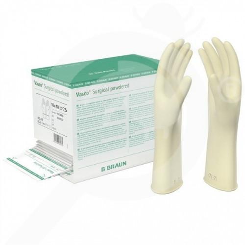 bg b braun safety equipment vasco surgical powdered gloves 7 5 - 1, small