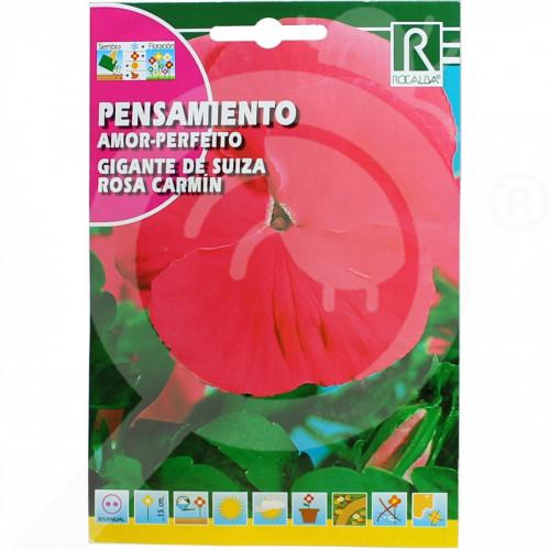 bg rocalba seed pansy amor perfeito gigante de suiza rosa carmin - 0